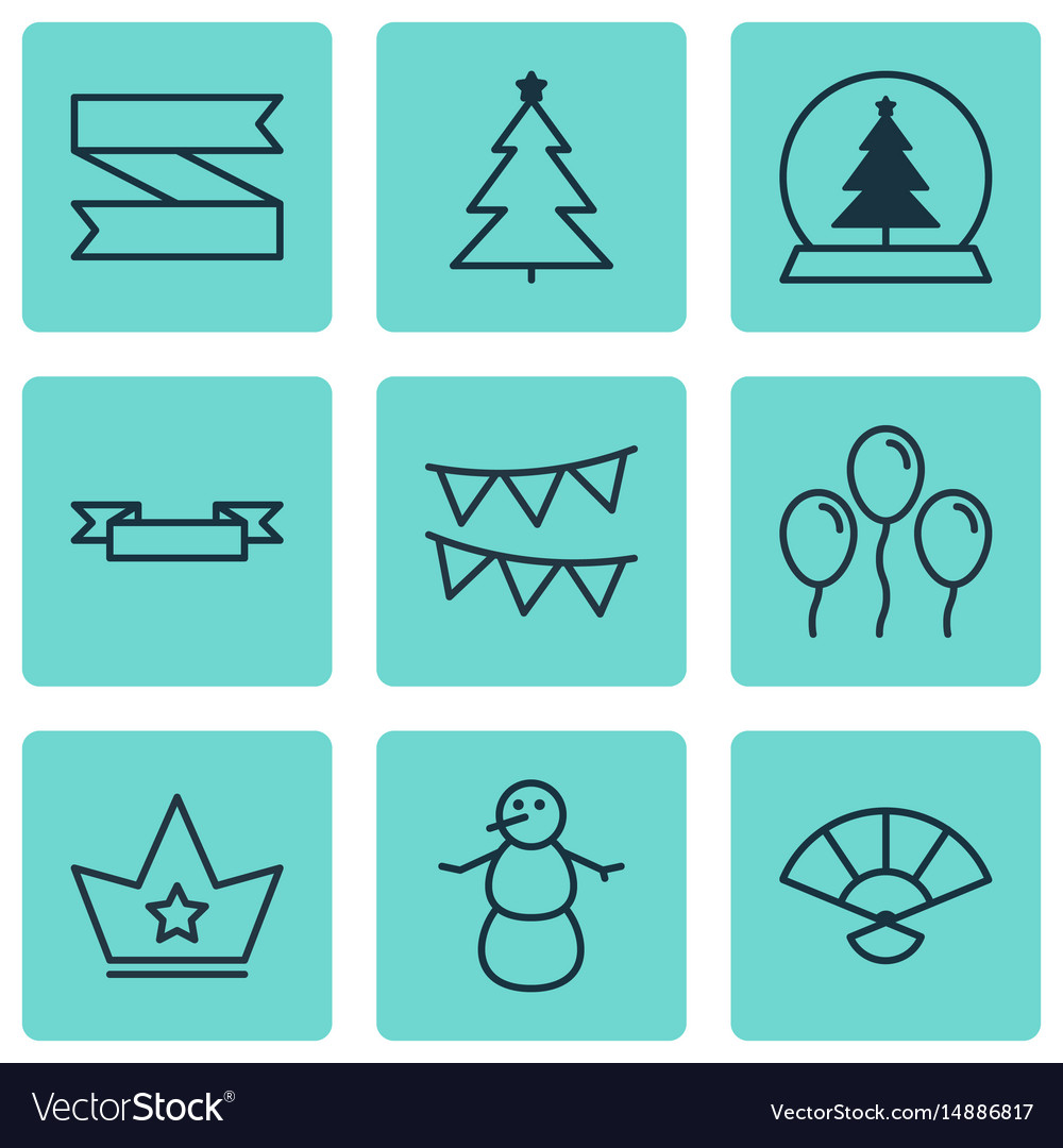 Set of 9 happy new year icons includes placard