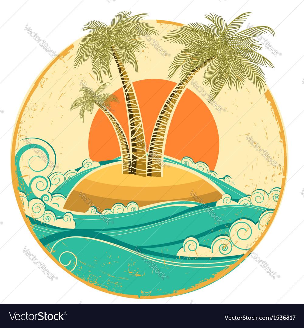 VIntage tropical island symbol seascape with sun