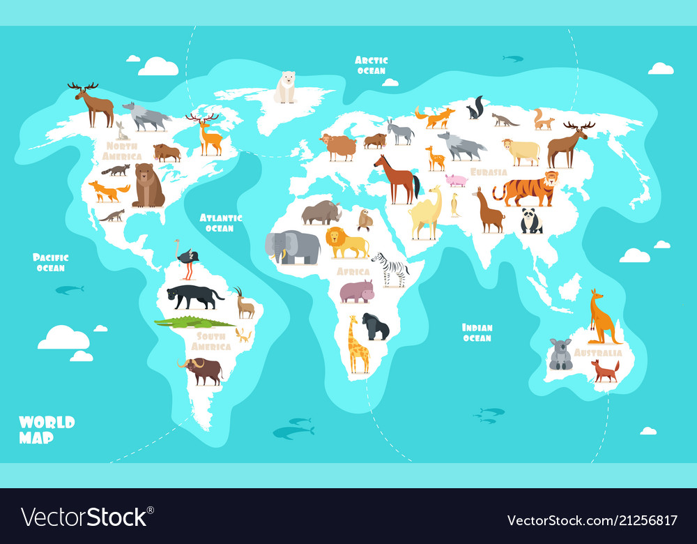 World map with animals earth discovery funny kids
