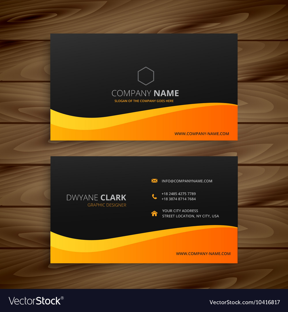 Yellow wave business card