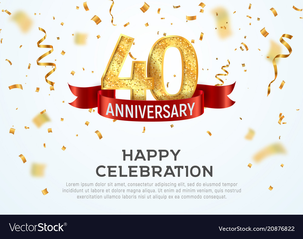 40 years anniversary banner template royalty free vector