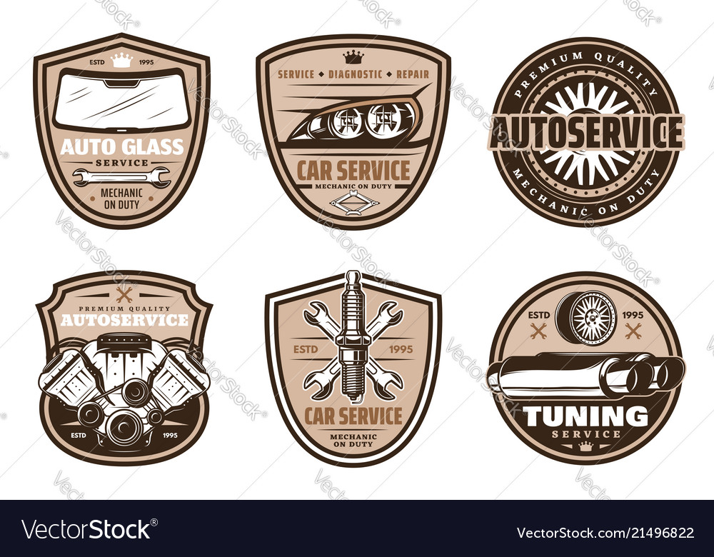 Auto service retro badge of car repair shop design