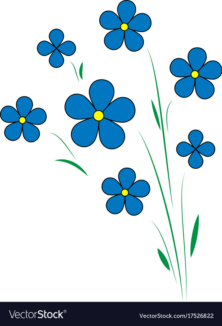 Blue flax flowers five petals with a yellow vector image mightylinksfo