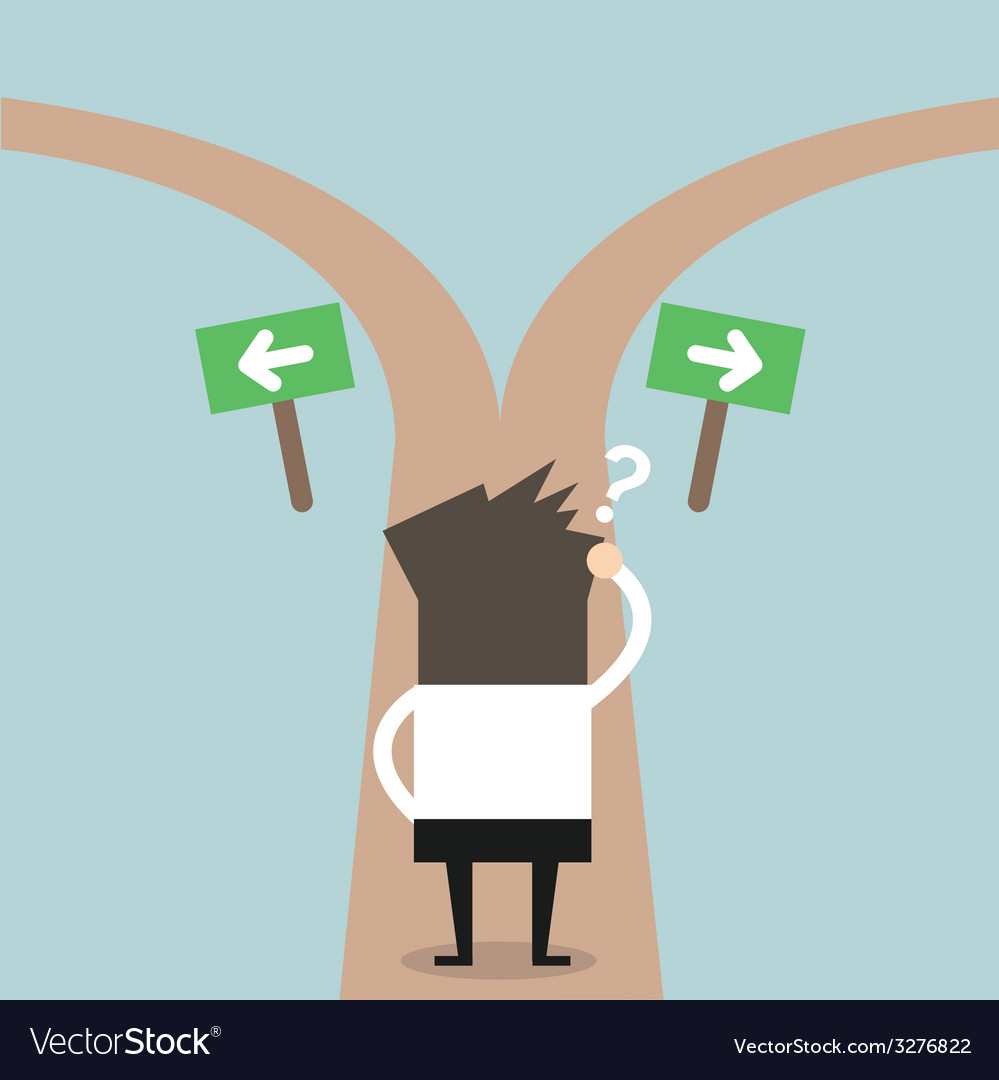 Businessmen Hesitate To Choose Path Royalty Free Vector