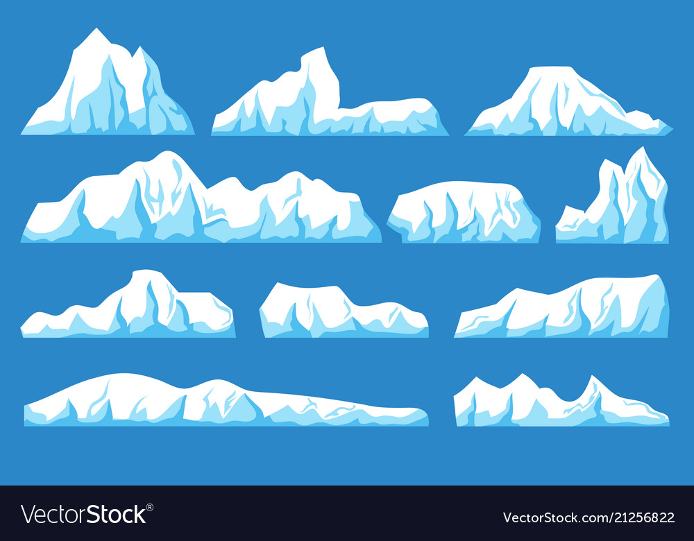 cartoon floating iceberg set ocean ice royalty free vector vectorstock