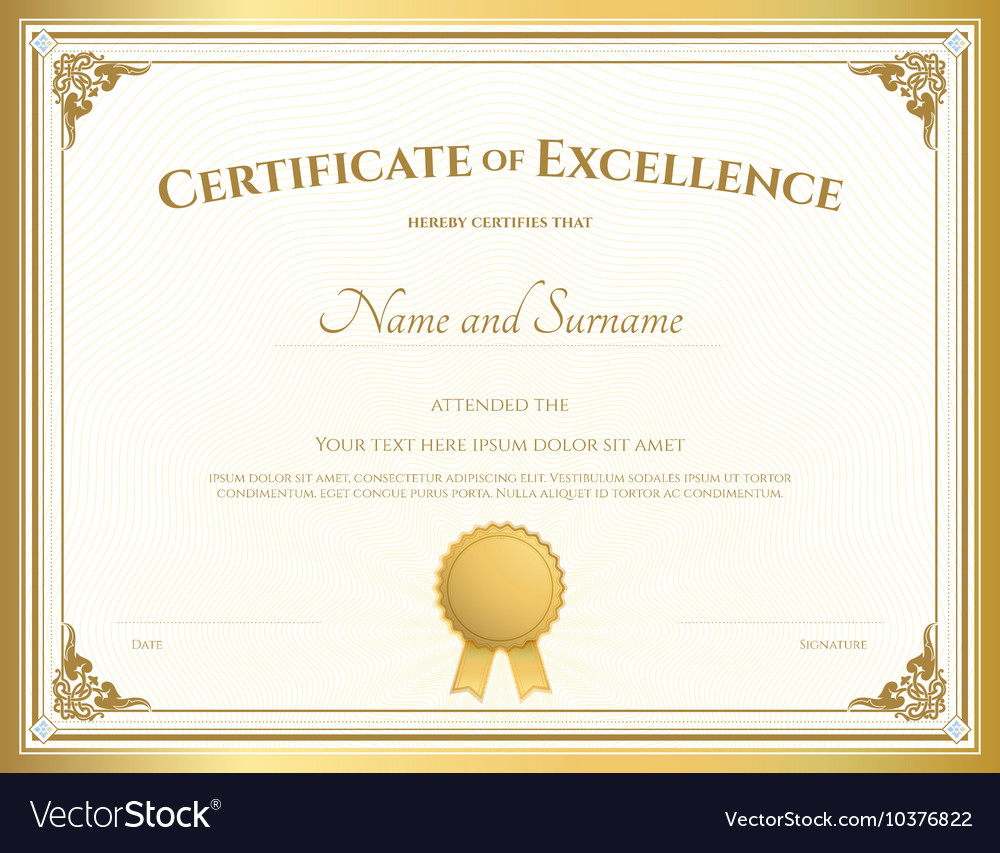 Certificate Of Excellence Template Gold Theme Vector Image