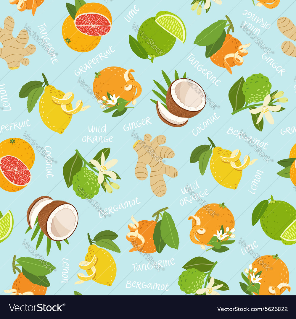 Citrus coconut and ginger seamless pattern on blue