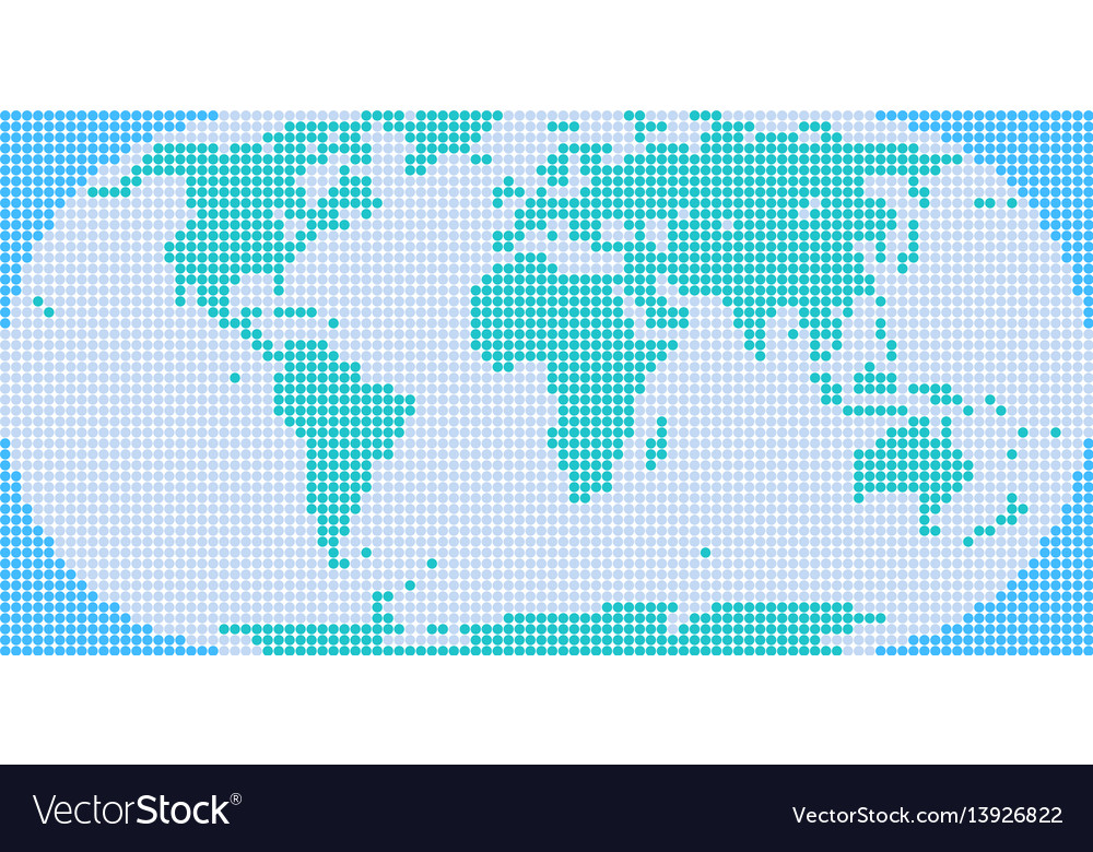 Flat world map atlas dot style vector image