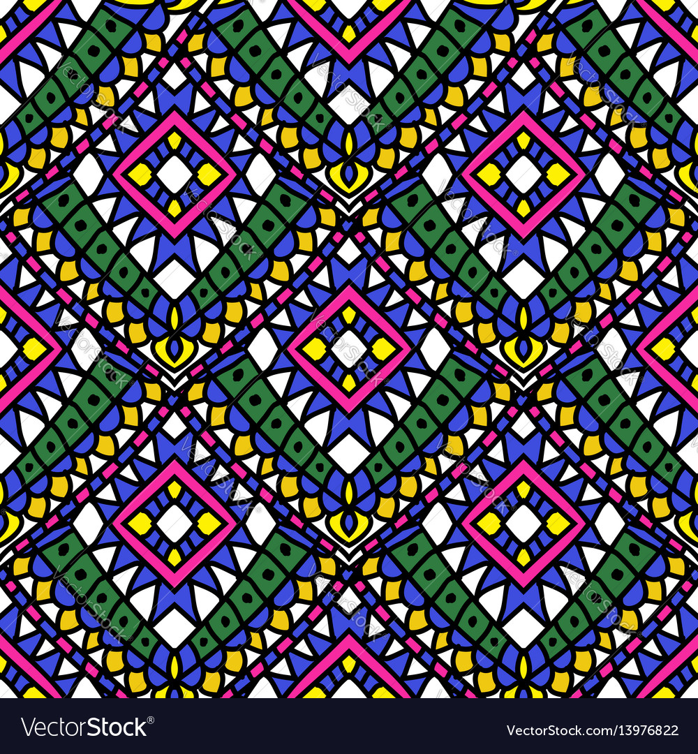 Green colored summer ethnic seamless pattern