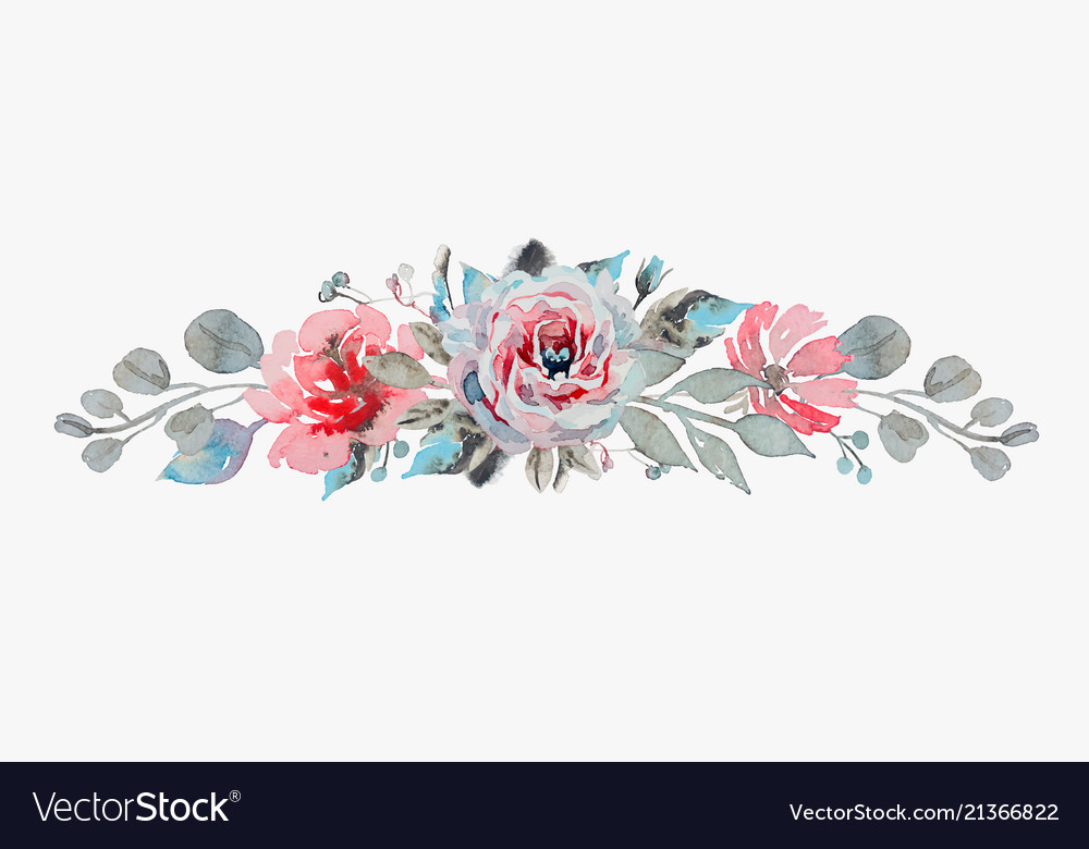 Handmade watercolor bouquet flowers - rose vector