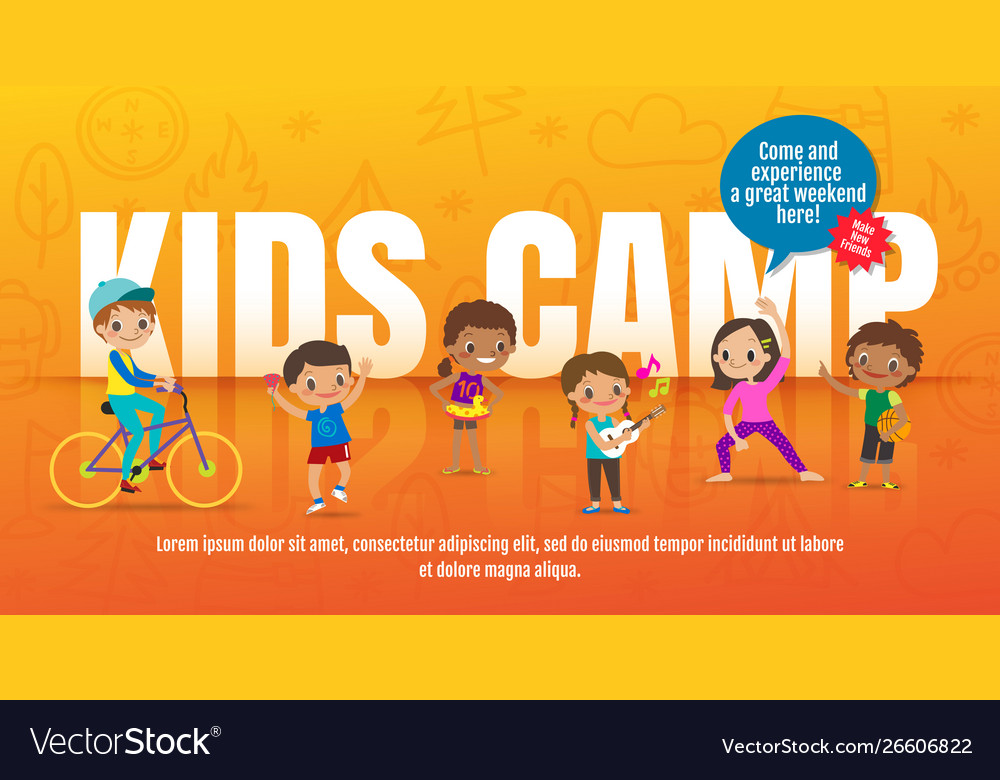 Kids camp concept children with many activities