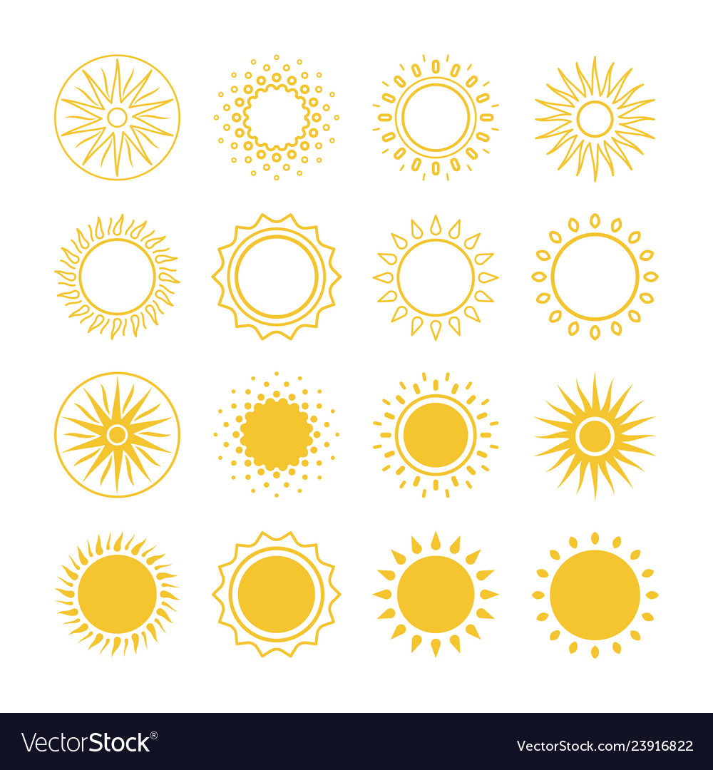 Line and silhouettes sun icons collection