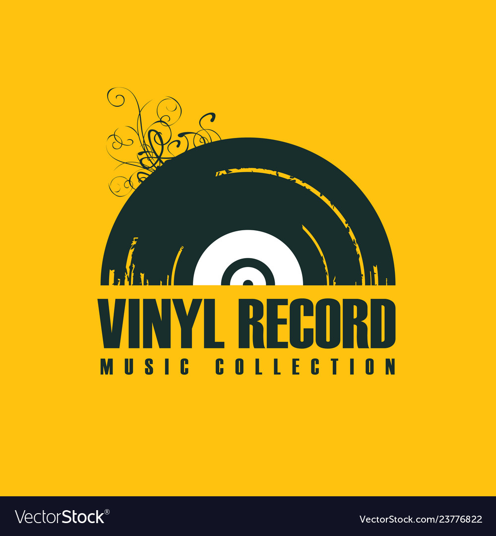 Music icon with vinyl record in retro style