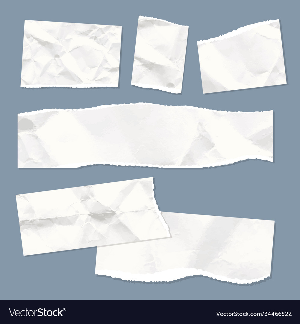 Realistic empty torn wrinkled paper notes on blue
