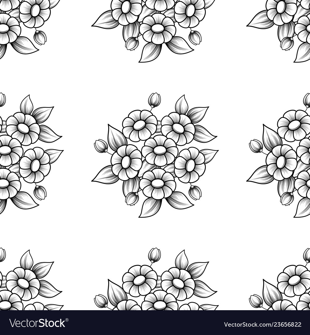 Seamless daisy flowers black background
