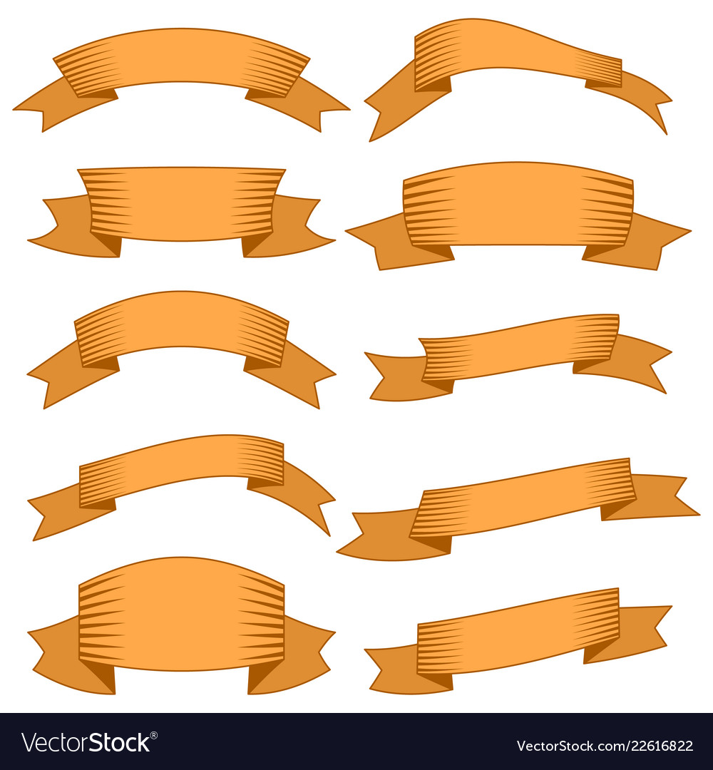 Ten orange ribbons and banners for web design