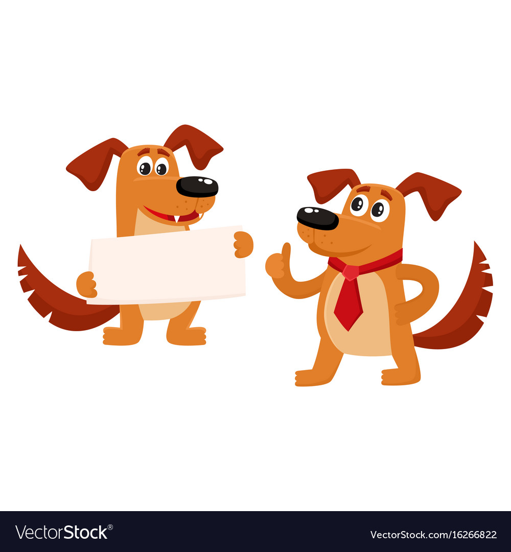Two Funny Cute Brown Dog Characters Royalty Free Vector