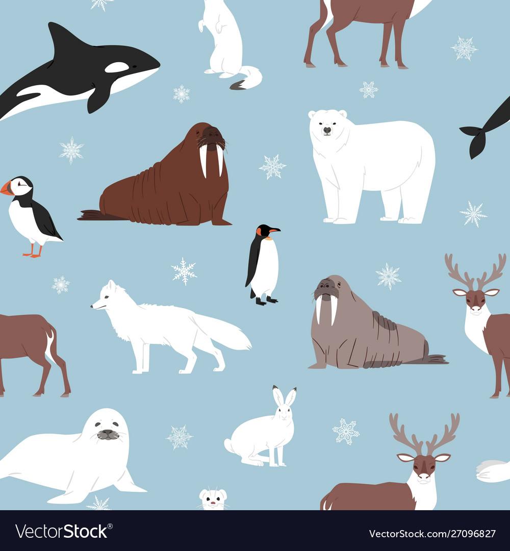 Arctic animals seamless pattern cartoon
