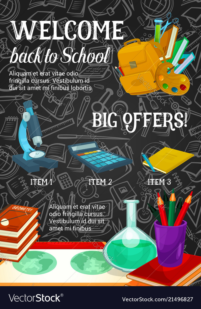 back to school sale promotion poster template vector image