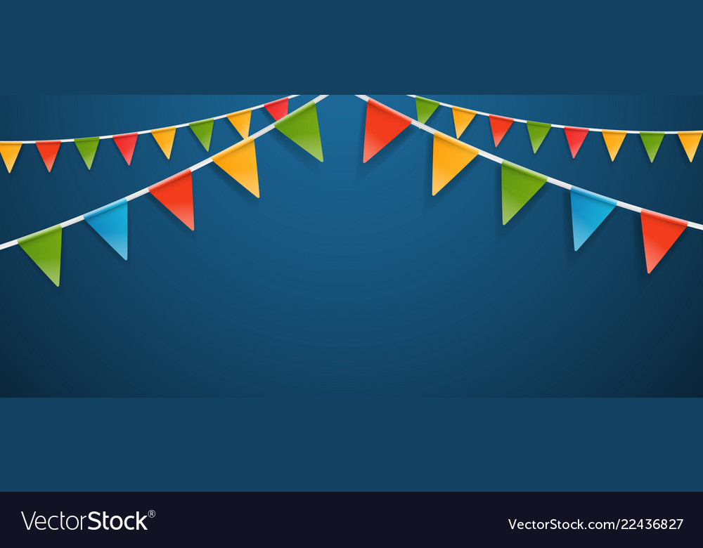 Color triangle flags garlands on dark background
