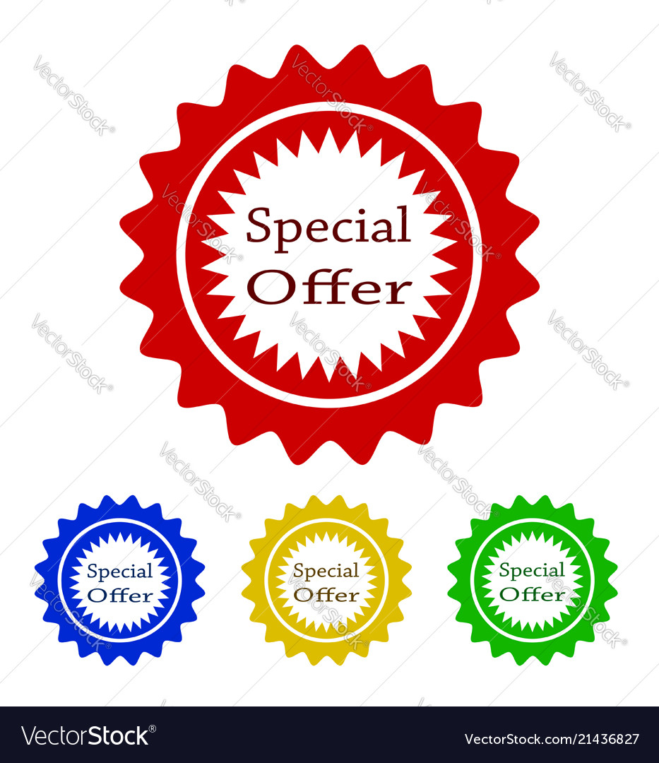 Colorful special offer tag design stock