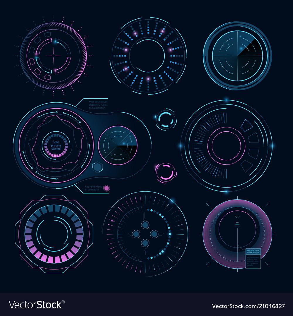 Futuristic digital graphics hud radial shapes for