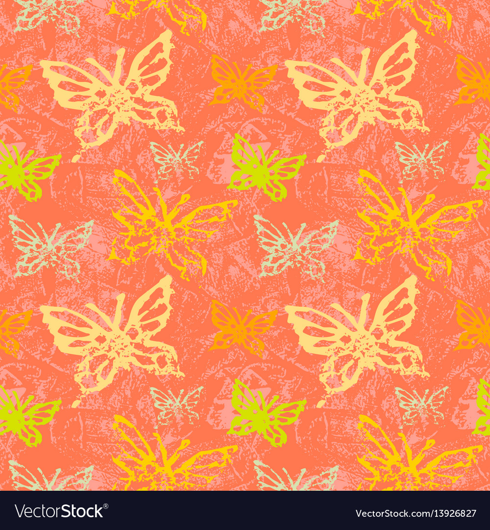Grunge seamless pattern with butterflys