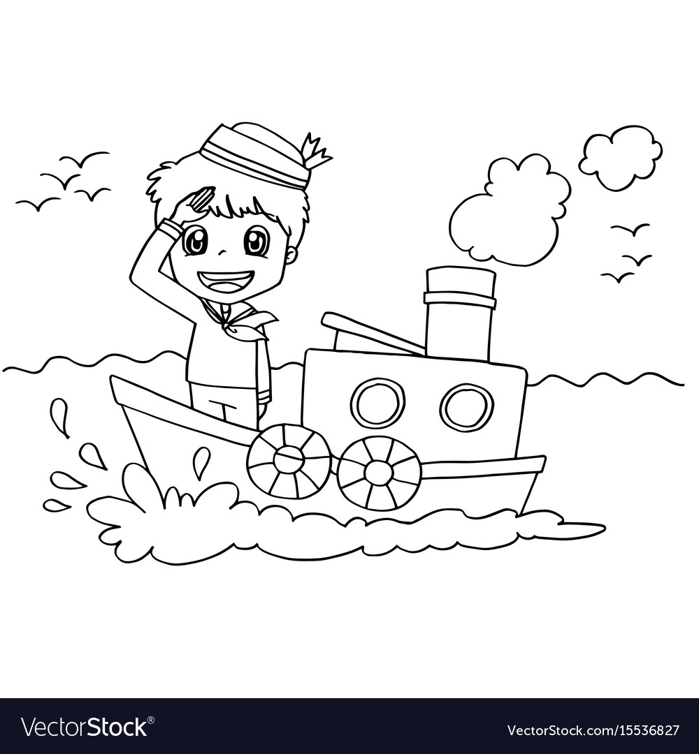 Little boy with a boat coloring page Royalty Free Vector