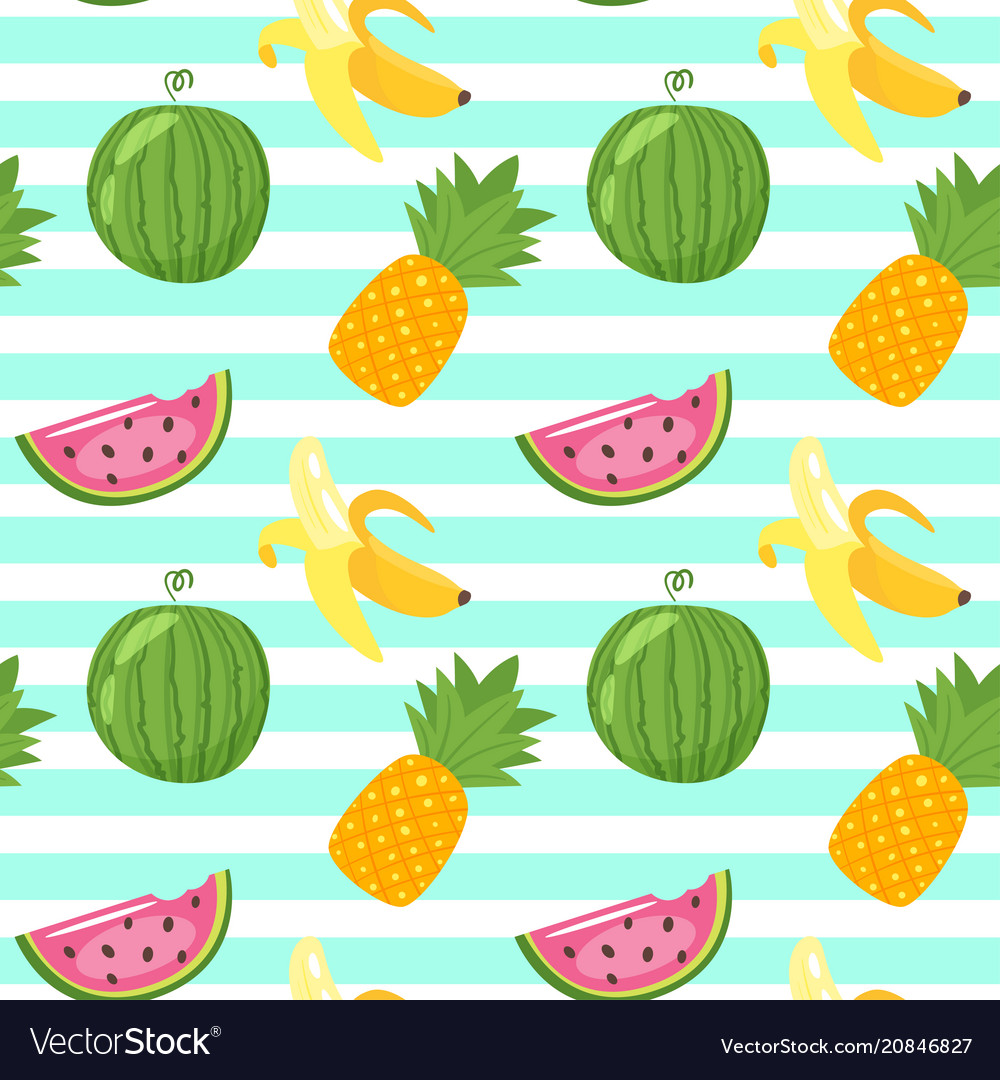 Pattern with pineapple watermelon