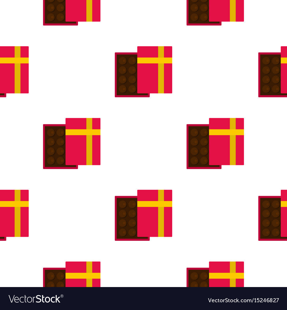 Pink box with chocolate pattern seamless vector image