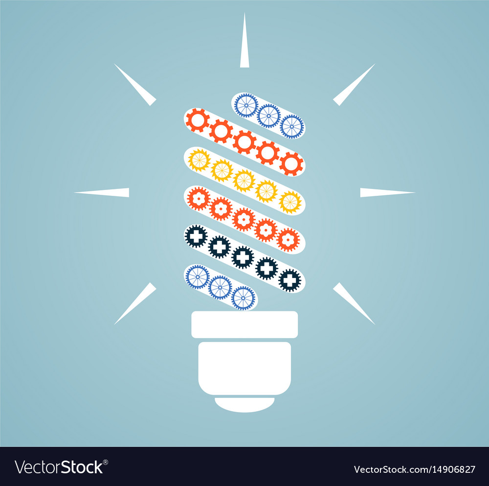 Simple light bulb conceptual icon with colorful