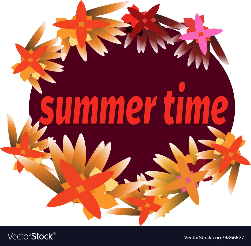 Summer time template for banner postcard with