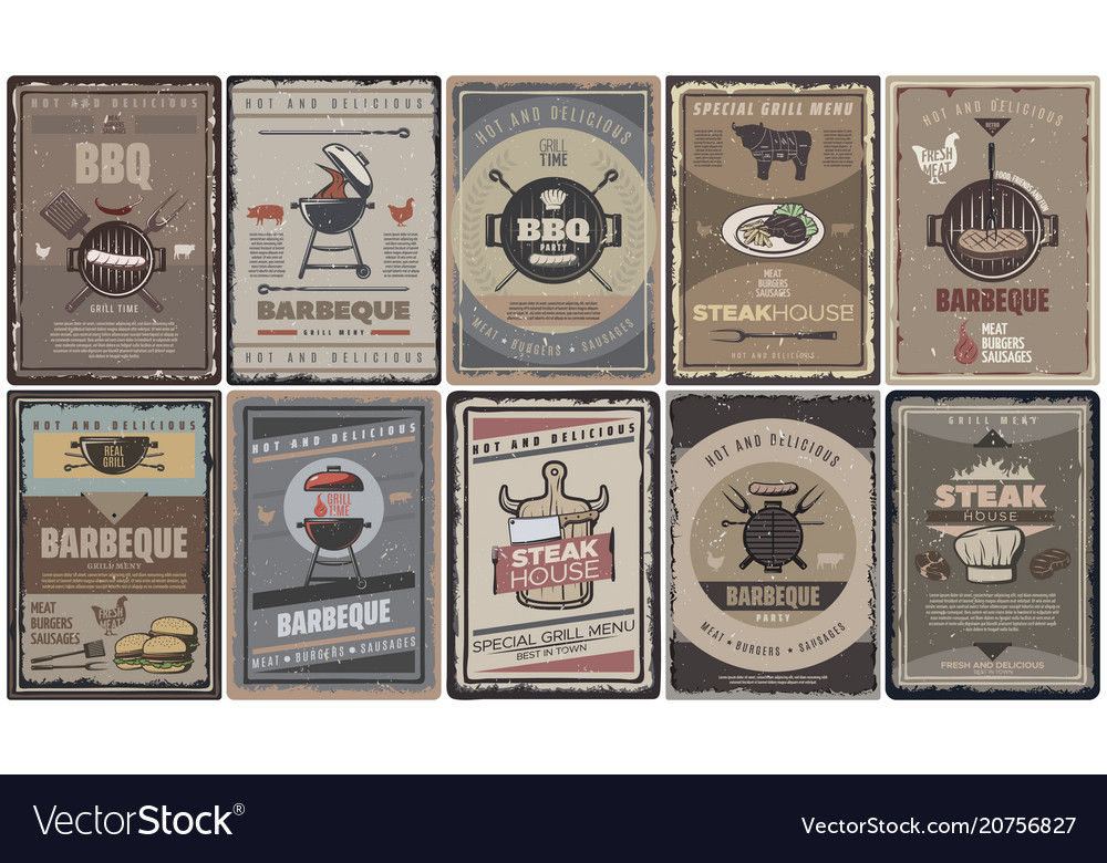 Vintage colored barbecue brochures collection vector image