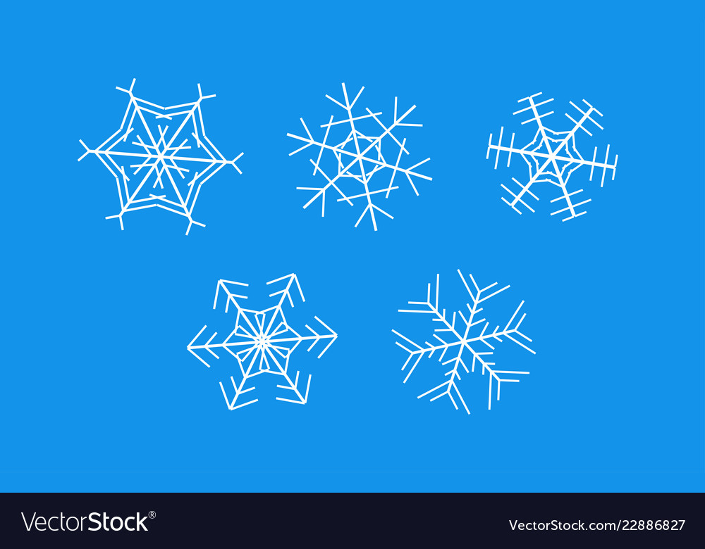 White snowflakes on blue background - set of