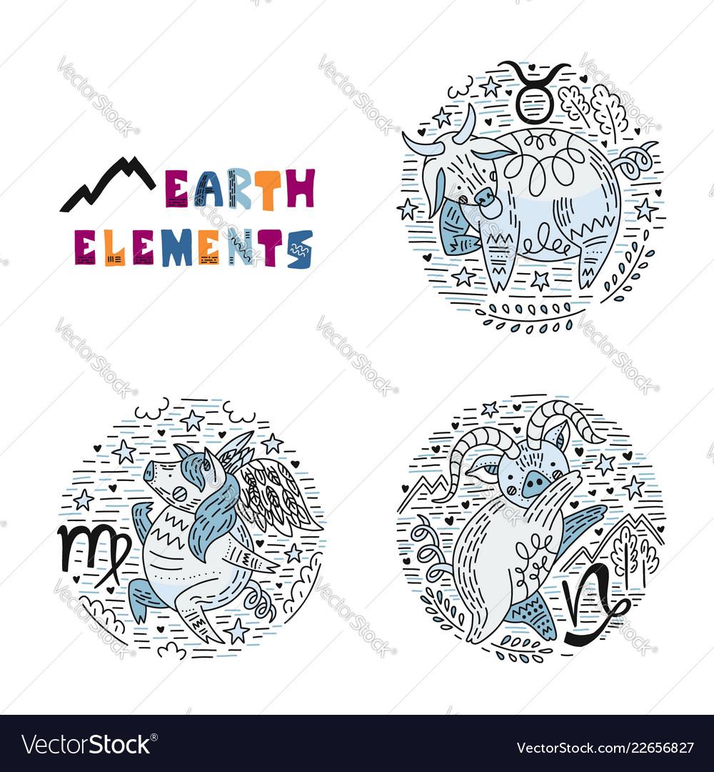 Zodiac earth elements set