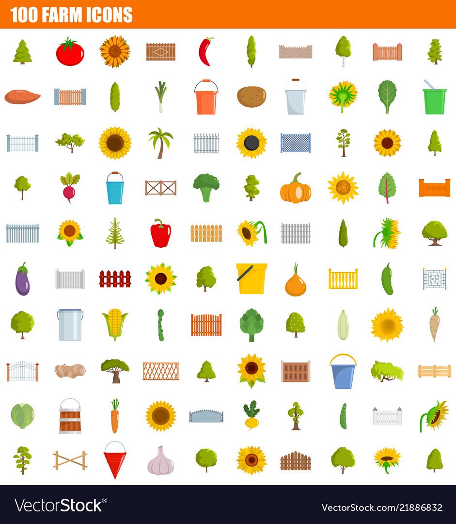 100 farm icon set flat style