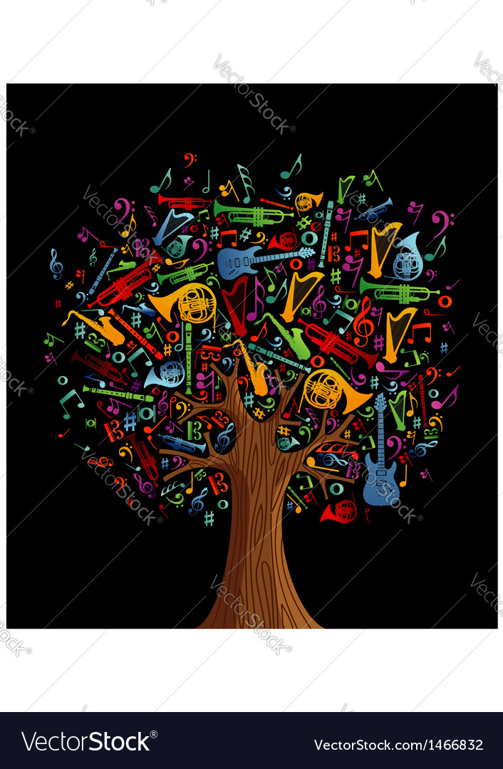 Abstract musical tree vector image