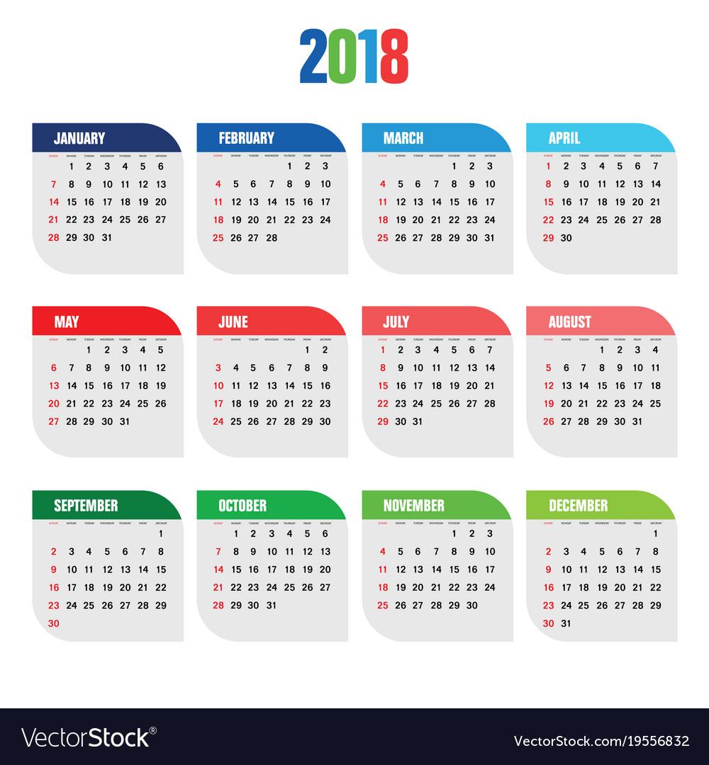 Calendar For 2018 Year Organizer Royalty Free Vector Image