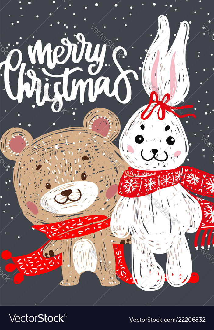 Christmas poster with bunny and bear