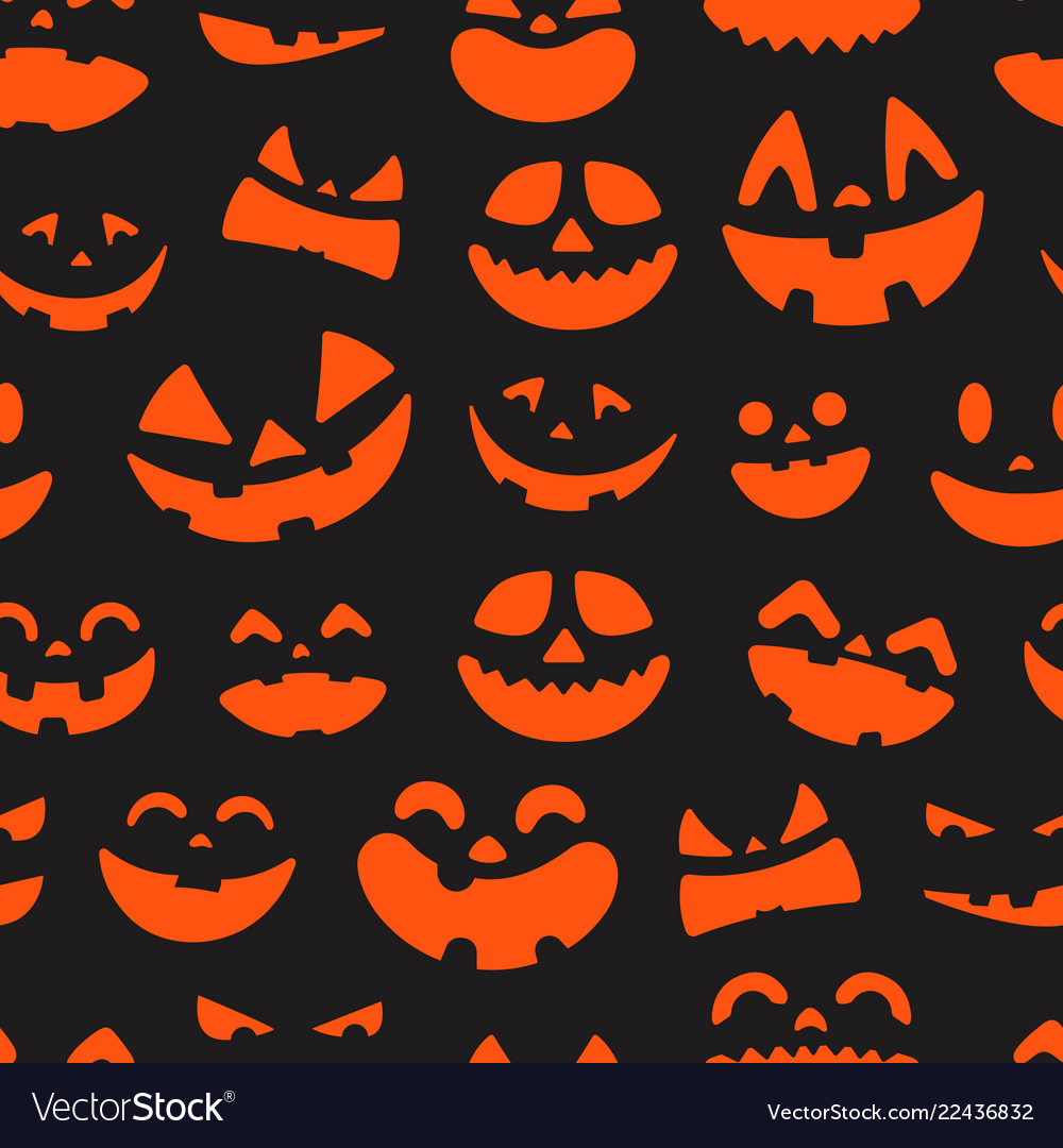 Halloween pumpkin faces seamless pattern vector