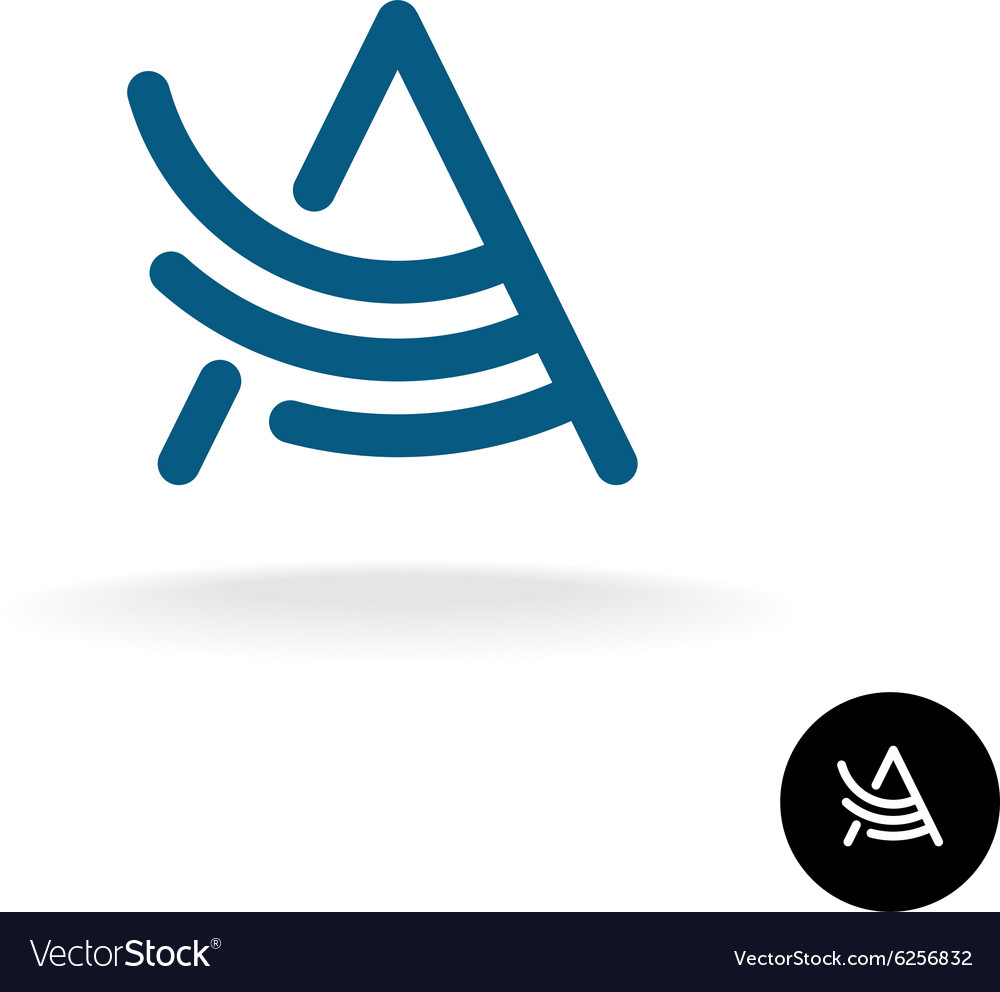 Letter A linear wing logo vector image