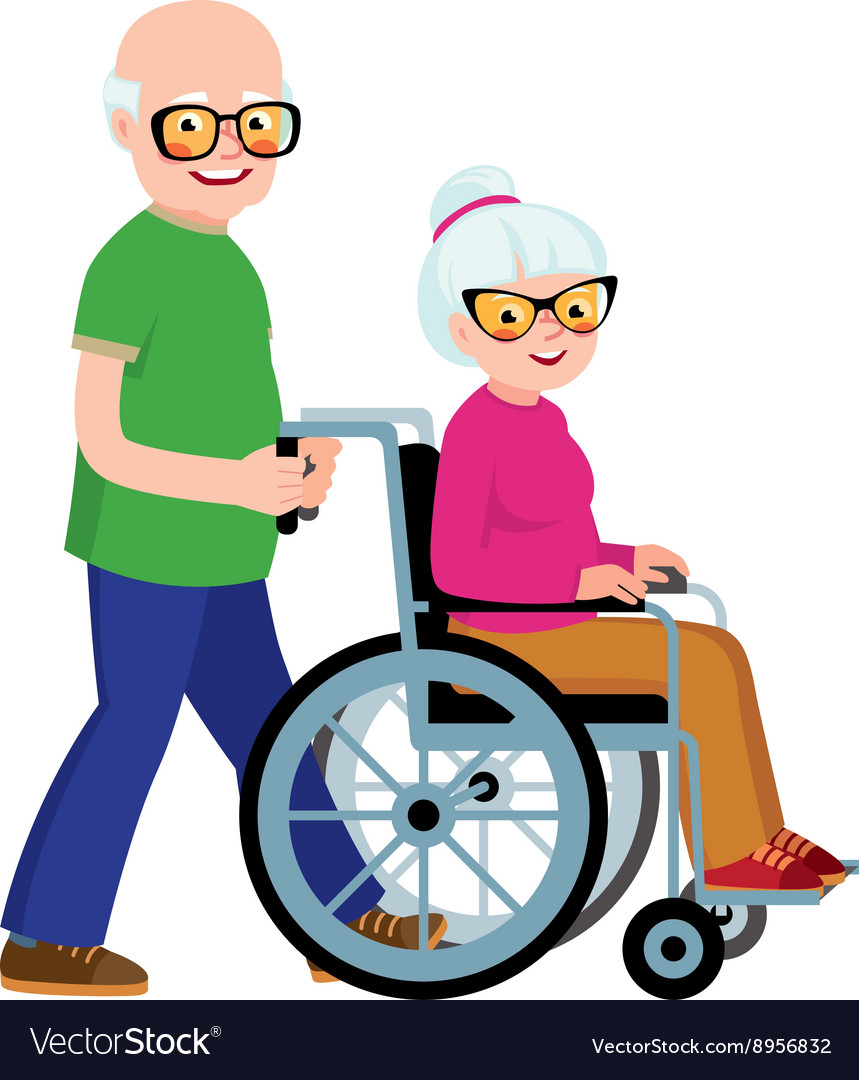 Married couple senior man and his wife vector image