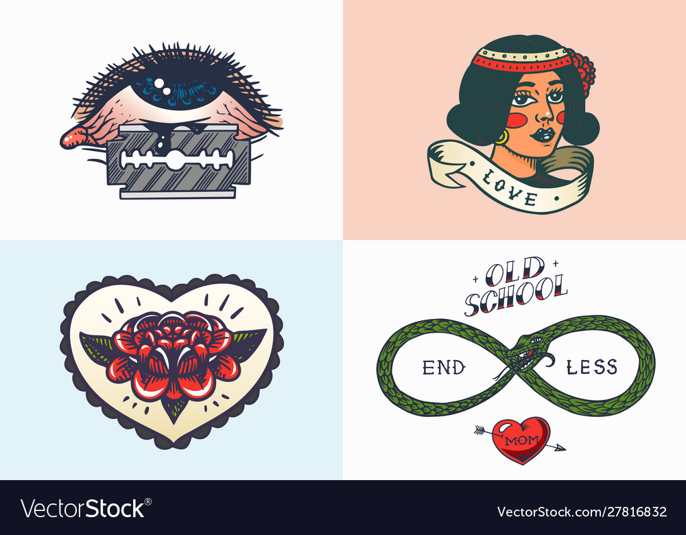 Old school tattoo stickers eye and woman heart