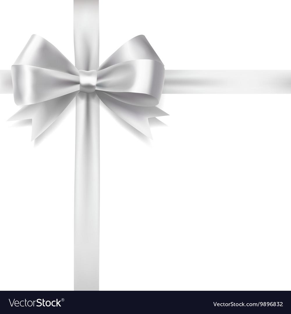 Silver ribbon bow Royalty Free Vector Image - VectorStock  Silver ribbon b...