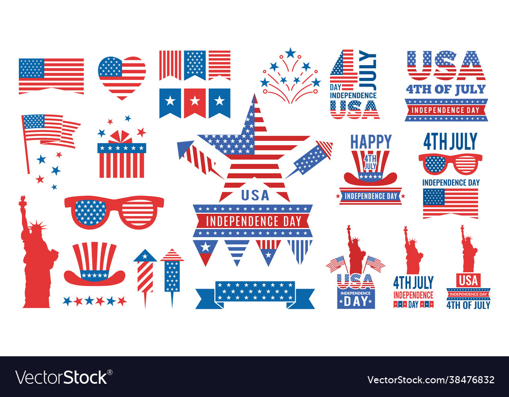 Usa independence day bundle flags red blue stars