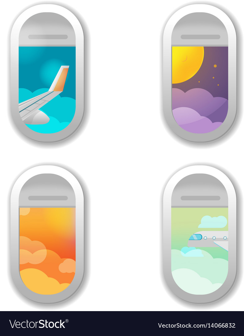 Window airplane different view background vector image