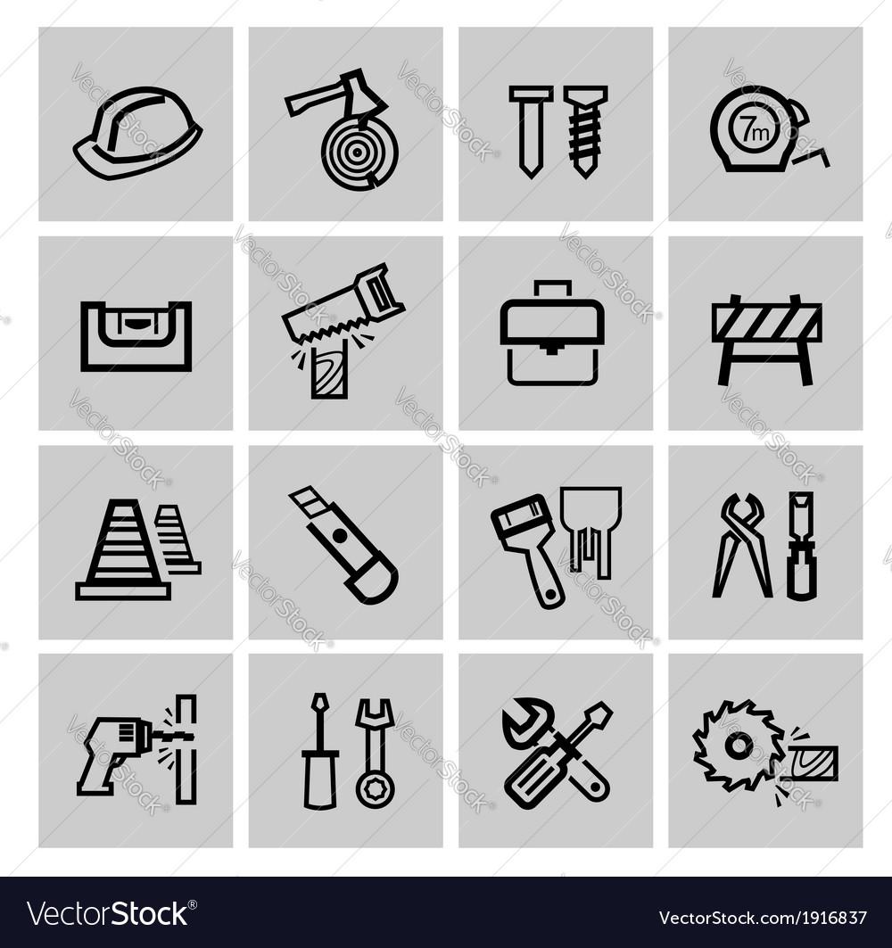 Black construction icons set