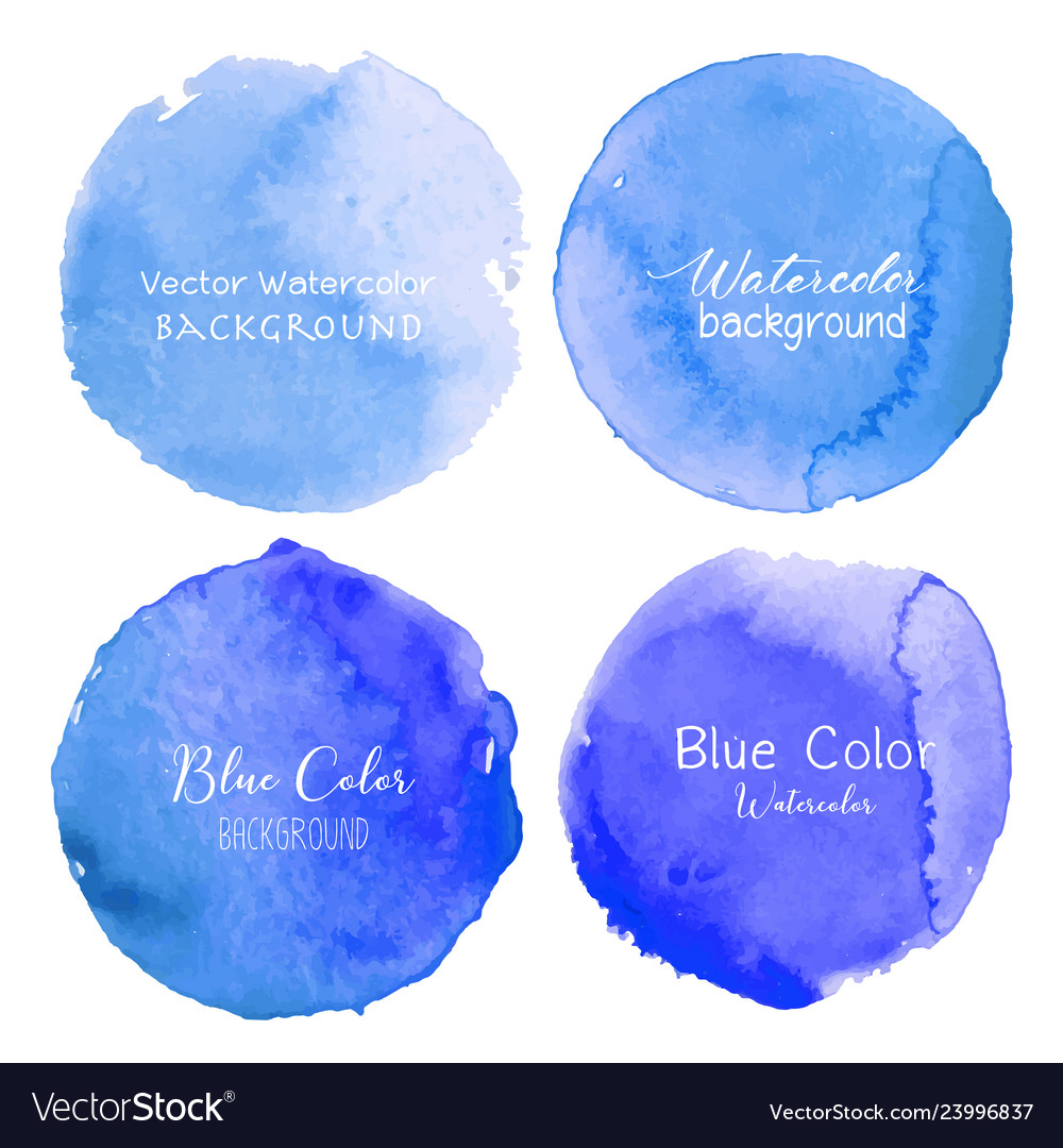 Blue watercolor circle set on white background