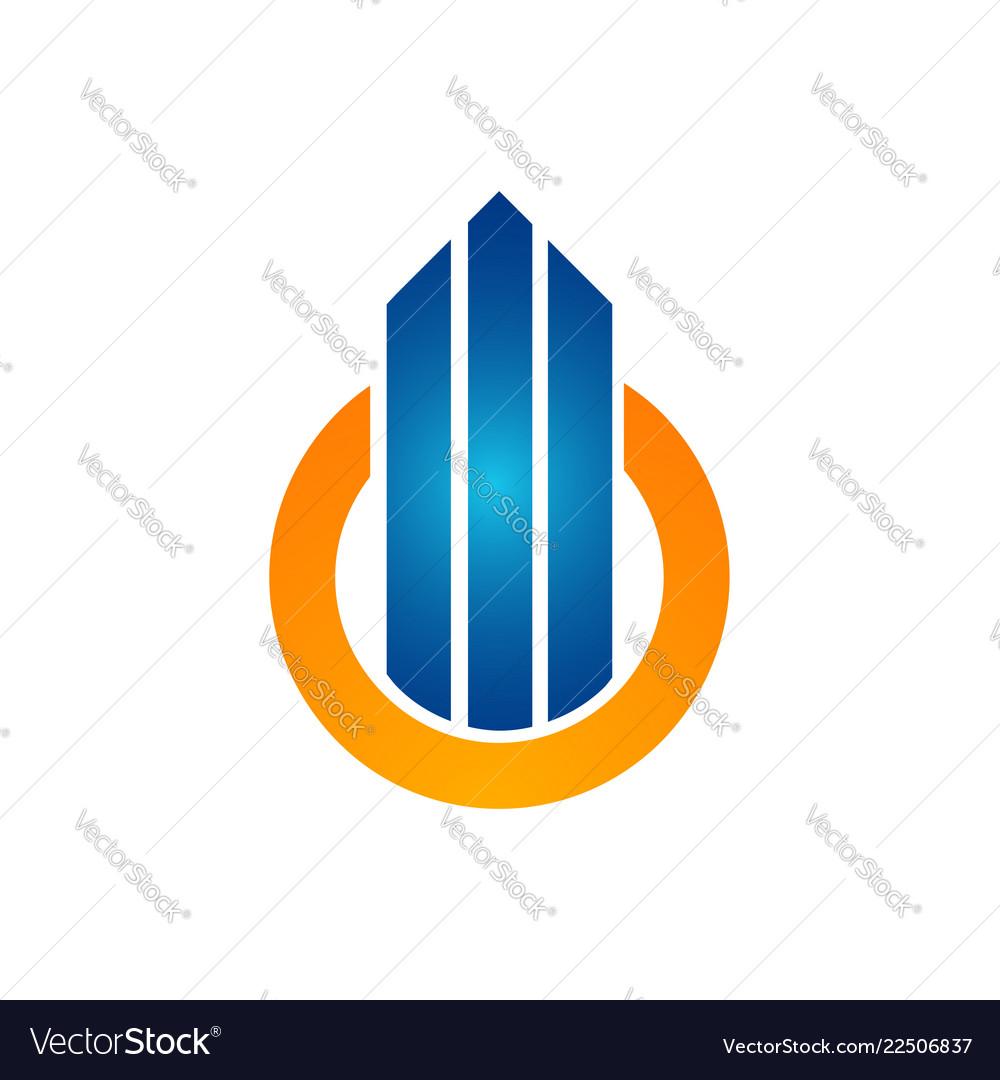Circle orange color with arrow up building logo