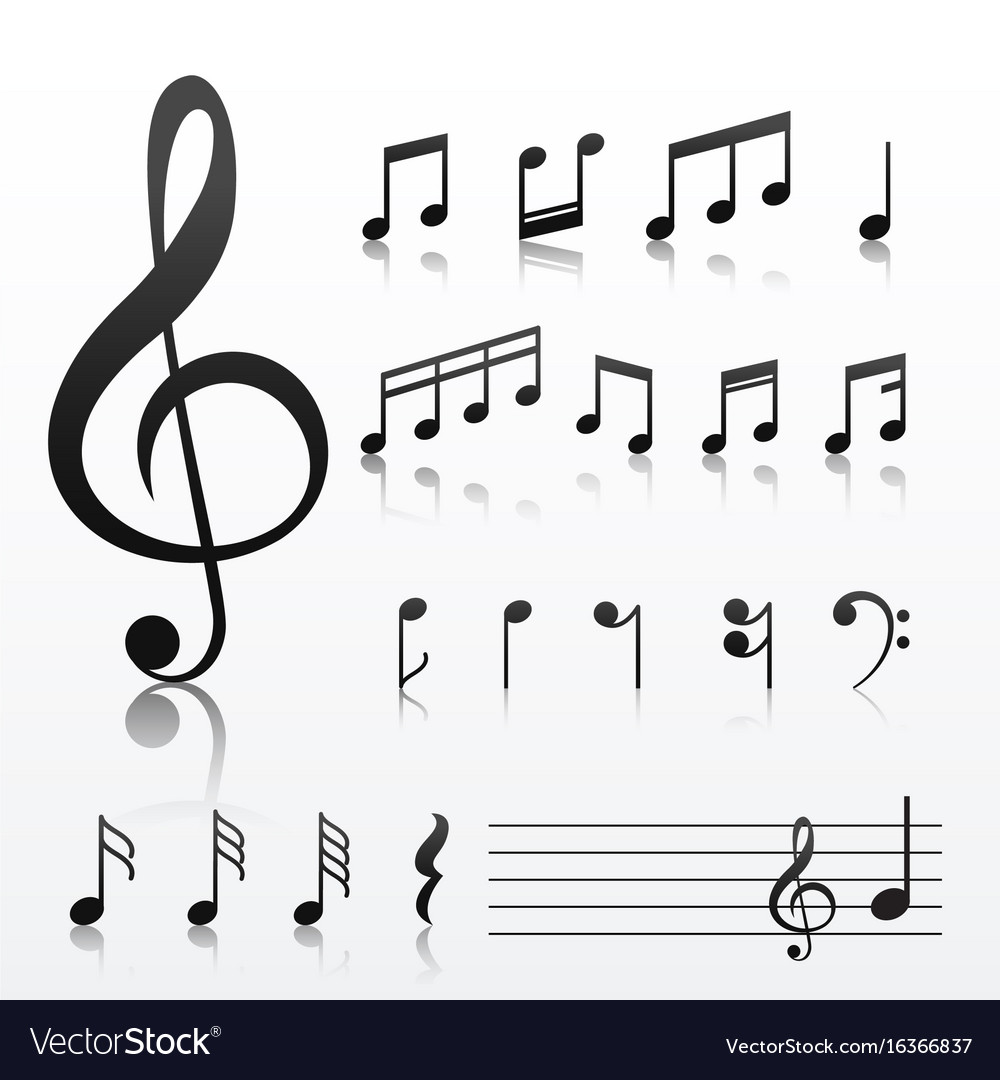 Collection Of Music Note Symbols Royalty Free Vector Image